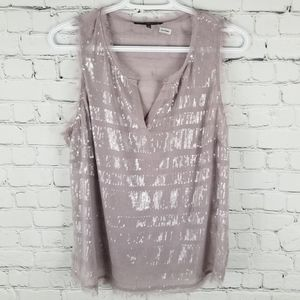 MATTY M | sequin notched v-neck shimmer blouse